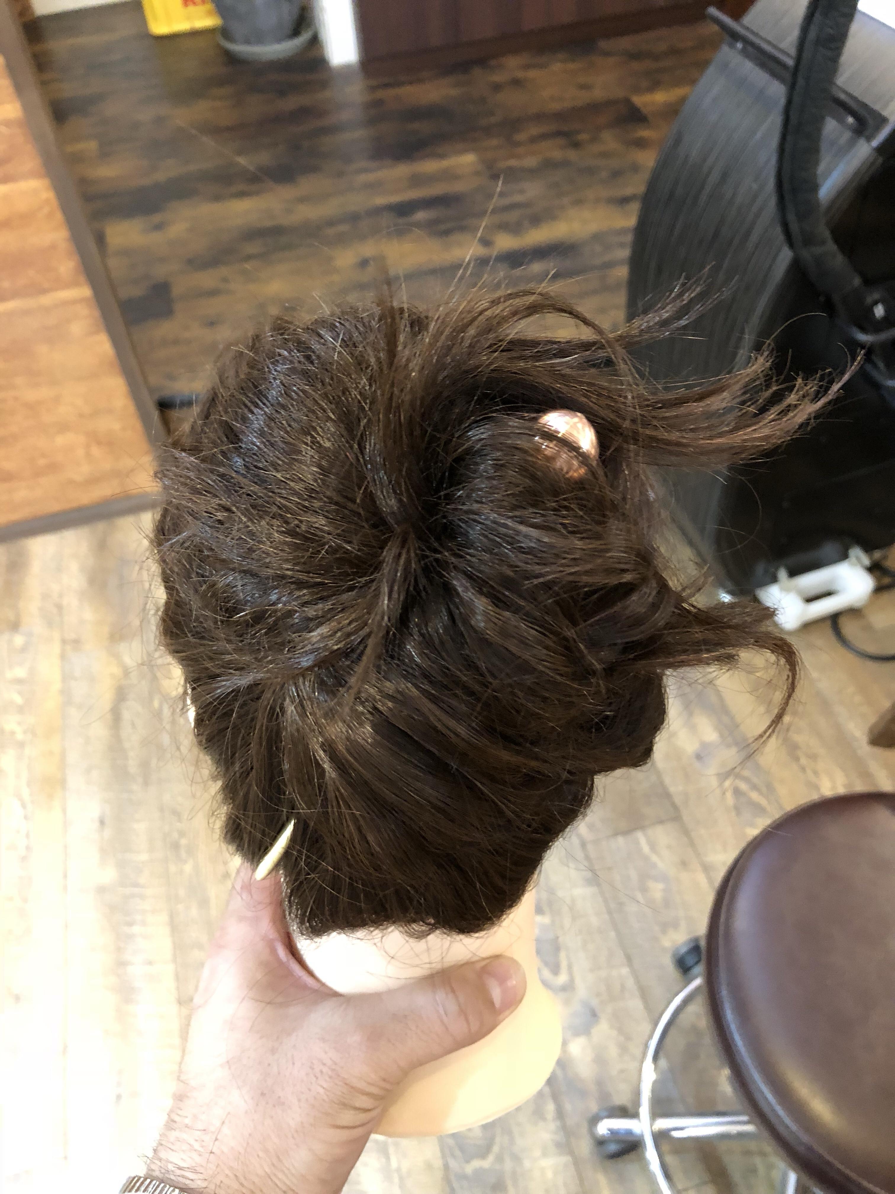 かんざしヘアセット 簡単まとめ髪